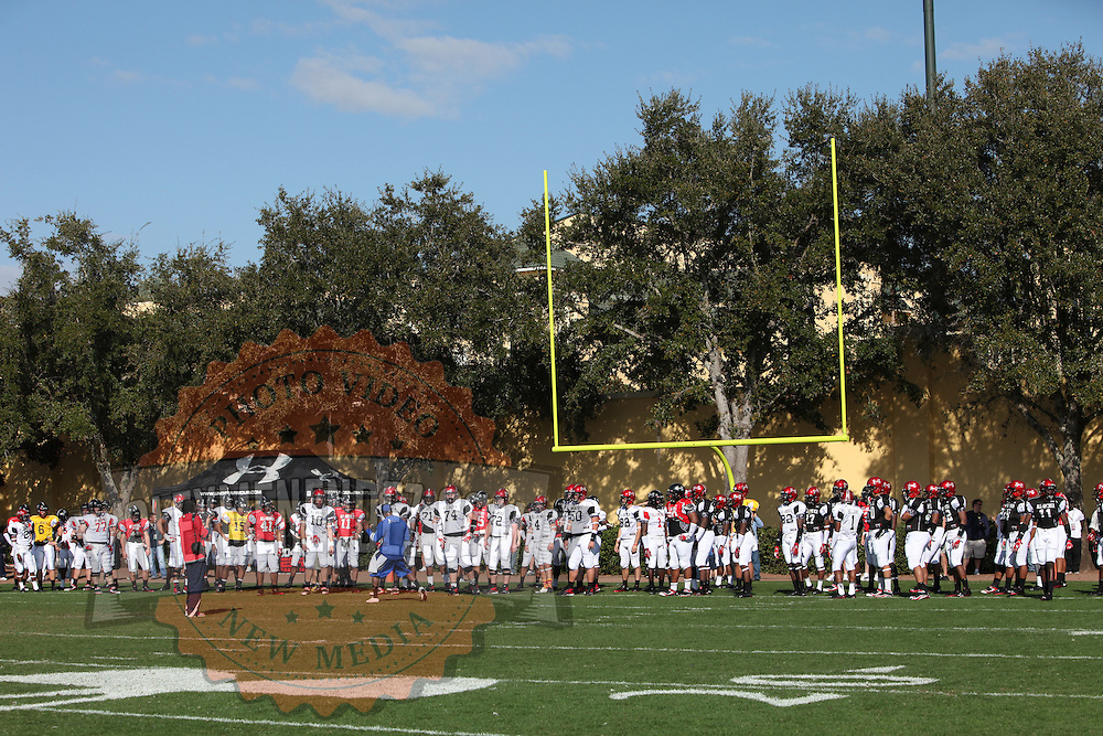 Team members line up in the end zone during the practice session at the Walt Disney Wide World of Sports Complex in preparation for the Under Armour All-America high school football game on December 3, 2011 in Lake Buena Vista, Florida. (AP Photo/Alex Menendez)