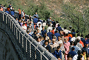 Chinese people visiting the Great Wall of China near Peking, now Beijing, China in the 1980s