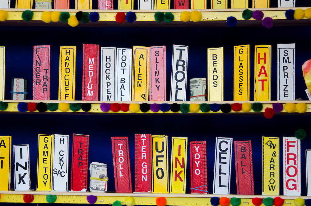 Close-up of prize tags at a shooting game on the midway, Blue Hill Fair, Maine