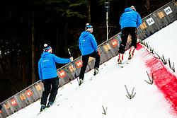 Preparing the hill after the Trial Round at Day 1 of World Cup Ski Jumping Ladies Ljubno 2019, on February 8, 2019 in Ljubno ob Savinji, Slovenia. Photo by Matic Ritonja / Sportida