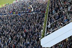 General view of crowds of racegoers during St Patrick's Thursday of the 2018 Cheltenham Festival at Cheltenham Racecourse.