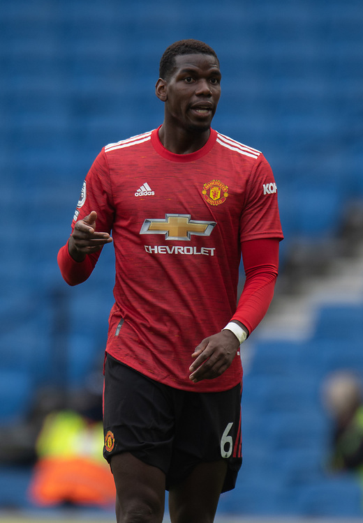 Manchester United's Paul Pogba <br /> <br /> Photographer David Horton/CameraSport<br /> <br /> The Premier League - Saturday 26th September 2020 - Brighton and Hove Albion v Manchester United - Falmer Stadium - Brighton<br /> <br /> World Copyright © 2020 CameraSport. All rights reserved. 43 Linden Ave. Countesthorpe. Leicester. England. LE8 5PG - Tel: +44 (0) 116 277 4147 - admin@camerasport.com - www.camerasport.com
