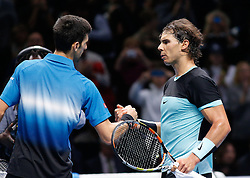 21-11-2015 GBR: ATP Tennis Tour Finals day 7, London<br /> Novak Djokovic (SRB) shakes hands as he defeats Rafael Nadal (ESP) in semi-finals match by a sore of 6-3, 6-3 <br /> <br /> ***NETHERLANDS ONLY***