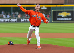 April 30, 2018 - Houston, TX, U.S. - HOUSTON, TX - APRIL 30:  John Easton Jr. of the International Brotherhood of Electrical Workers throws the first pitch during the baseball game between the New York Yankees and Houston Astros on April 30, 2018 at Minute Maid Park in Houston, Texas.  (Photo by Leslie Plaza Johnson/Icon Sportswire) (Credit Image: © Leslie Plaza Johnson/Icon SMI via ZUMA Press)