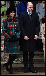 December 25, 2017 - Sandringham, United Kingdom - CATHERINE, Duchess of Cambridge with PRINCE WILLIAM, The Duke of Cambridge curtsey to HM Queen Elizabeth II at  St. Mary Magdalene Church on her Sandringham estate in Norfolk, after  the Christmas Day service. (Credit Image: © Andrew Parsons/i-Images via ZUMA Press)