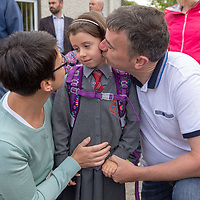 Ella O'Donnell with parents Hugh and Monica on her First day at Crusheen National School