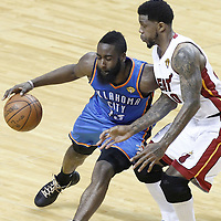 17 June 2012: Oklahoma City Thunder guard James Harden (13) drives past during the Miami Heat 91-85 victory over the Oklahoma City Thunder, in Game 3 of the 2012 NBA Finals, at the AmericanAirlinesArena, Miami, Florida, USA.