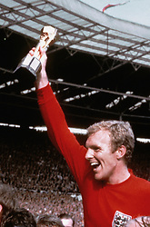 England captain Bobby Moore holds aloft the World Cup