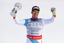 14.03.2018, Aare, SWE, FIS Weltcup Ski Alpin, SWE, FIS Weltcup Ski Alpin, Finale, Aare, Abfahrt Weltcup, Siegerehrung, im Bild 14.03.2018, Aare, SWE, FIS Weltcup Ski Alpin, Finale, Aare, Abfahrt Weltcup, Siegerehrung, im Bild // Downhill World Cup winner and third placed for the Downhill Beat Feuz of Switzerland with his crystal globe during the winner Ceremony for the downhill Worlcup of FIS Ski Alpine World Cup finals in Aare, Sweden on 2018/03/14. EXPA Pictures © 2018, PhotoCredit: #AGENTUR#/ Johann Groder // Downhill World Cup winner and third placed for the Downhill Beat Feuz of Switzerland with his crystal globe during the winner Ceremony for the downhill Worlcup of FIS Ski Alpine World Cup finals in Aare, Sweden on 2018/03/14. EXPA Pictures © 2018, PhotoCredit: EXPA/ Johann Groder<br /> <br /> *****ATTENTION - #RESTRICTION#*****