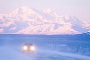 Alaska Parks Highway looking South towards Denali in Winter.