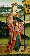 St Catherine of Alexandria (d307). At her feet is a broken wheel representing the wheel on which she was martyred.  High Rhenish School c1500.  Private collection.