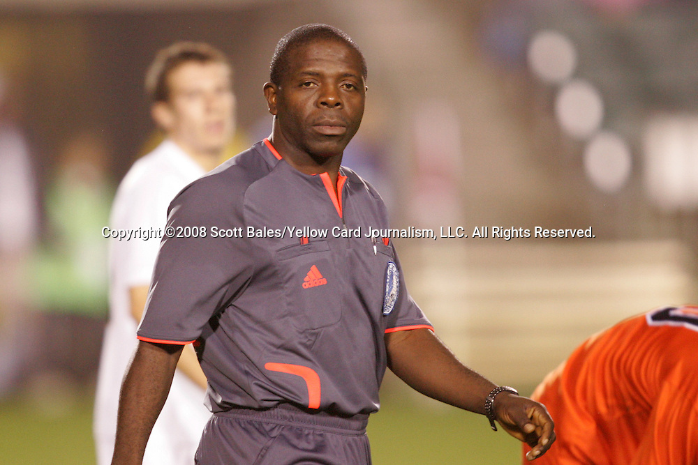14 November 2008: Referee Abby Okalajah. The University of Virginia defeated Wake Forest 3-2 in two overtimes at WakeMed Stadium at WakeMed Soccer Park in Cary, NC in a men's ACC tournament semifinal game.