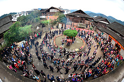 """People of Dong ethnic group hold a traditional ceremony at Meilin Village in Meilin Township under Dong Autonomous County of Sanjiang, south China's Guangxi Zhuang Autonomous Region, March 10, 2016. People of Dong ethnic group attend a local song festival to greet the coming of Er Yue Er, or the second day of the second month on the Chinese lunar calendar, which falls on March 10 this year. Chinese people call it the day when the """"dragon raises its head"""", which means the spring awakens after winter hibernation. EXPA Pictures © 2016, PhotoCredit: EXPA/ Photoshot/ Gong Pukong<br /> <br /> *****ATTENTION - for AUT, SLO, CRO, SRB, BIH, MAZ, SUI only*****"""