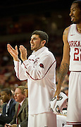 Nov 16, 2011; Fayetteville, AR, USA;  Arkansas Razorbacks guard Kikko Haydar (20) and forward Marvell Waithe (22) react to a play during a game against the Oakland Grizzlies at Bud Walton Arena. Arkansas defeated Oakland 91-68. Mandatory Credit: Beth Hall-US PRESSWIRE