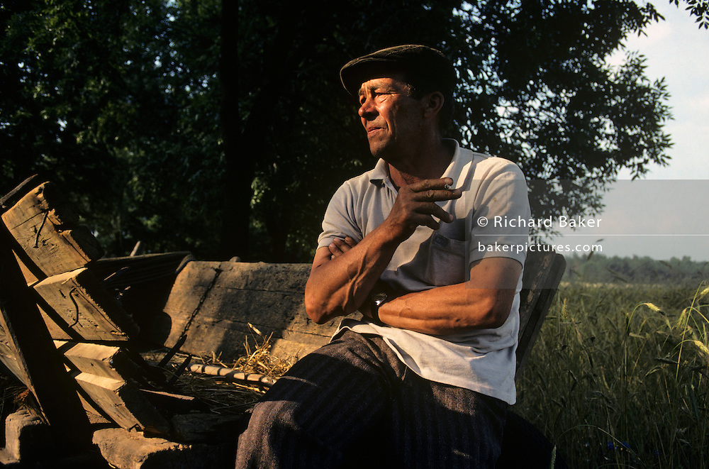 A farmer near the village of Grudziadz in Southern Poland rests on a hat cart on the edge of a corn field during harvest. it is later afternoon and the sun is falling on his weathered face and crossed arms which are muscular and veined, signs of a life of hard labour. He is in deep thought, perhaps thinking of Poland's fast-changing economy, now that the Berlin Wall has fallen and Poland is soon to become a member of the European Community (EU). Of Poland's 18,727,000 hectares of agricultural land (about 60 percent of the country's total area), 14,413,000 hectares is used for crop cultivation.