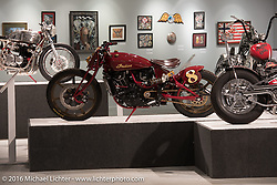 Roland Sands custom Indian Scout Racer in Michael Lichter's Skin & Bones tattoo inspired Motorcycles as Art show at the Buffalo Chip Gallery during the annual Sturgis Black Hills Motorcycle Rally.  SD, USA.  August 10, 2016.  Photography ©2016 Michael Lichter.