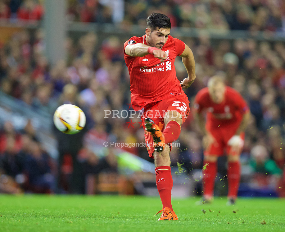 LIVERPOOL, ENGLAND - Thursday, October 22, 2015: Liverpool's Emre Can in action against Rubin Kazan during the UEFA Europa League Group Stage Group B match at Anfield. (Pic by David Rawcliffe/Propaganda)
