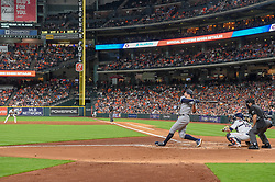May 1, 2018 - Houston, TX, U.S. - HOUSTON, TX - MAY 01: New York Yankees outfielder Aaron Judge makes good contact during the baseball game between the New York Yankees and Houston Astros on May 1, 2018 at Minute Maid Park in Houston, Texas (Photo by Ken Murray/Icon Sportswire) (Credit Image: © Ken Murray/Icon SMI via ZUMA Press)