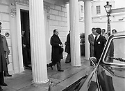 President Mitterand .at Áras an Uachtaráin..1984..21.02.1984..02.21.1984.21st February 1984..On a state visit to Dublin The French President, Mr Francois Mitterand,paid a visit to Áras an Uachtaráin,where he was greeted by The Irish President,Mr Patrick Hillery. ..Photograph taken as French President Francois Mitterand, takes his leave from Áras an Uachtaráin, after his state visit with President Hillery