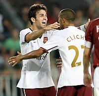 Photo: AF Wrofoto/Sportsbeat Images.<br />Sparta Prague v Arsenal. UEFA Champions League Qualifying. 15/08/2007.<br />Cesc Fabregas of Arsenal celebrates his first goal