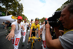 Tour de France winner Great Britain's Geraint Thomas wearing the overall leader's yellow jersey celebrates after the 21st and last stage of the 105th edition of the Tour de France cycling race between Houilles and Paris Champs-Elysees, in Paris, France, on July 29, 2018. Photo by Eliot Blondet/ABACAPRESS.COM