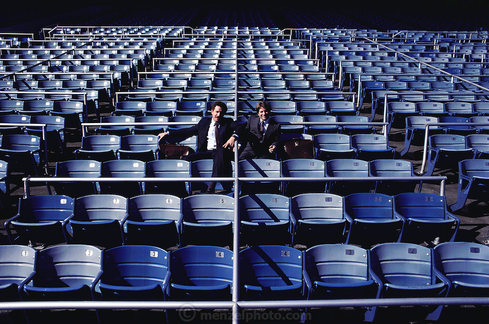 (1992) Lawyers, Peter Neufeld (left) and Barry Scheck have become experts on the legal aspects of DNA fingerprinting challenging statistical probability. They are pictured in Yankee Stadium in New York. MODEL RELEASED