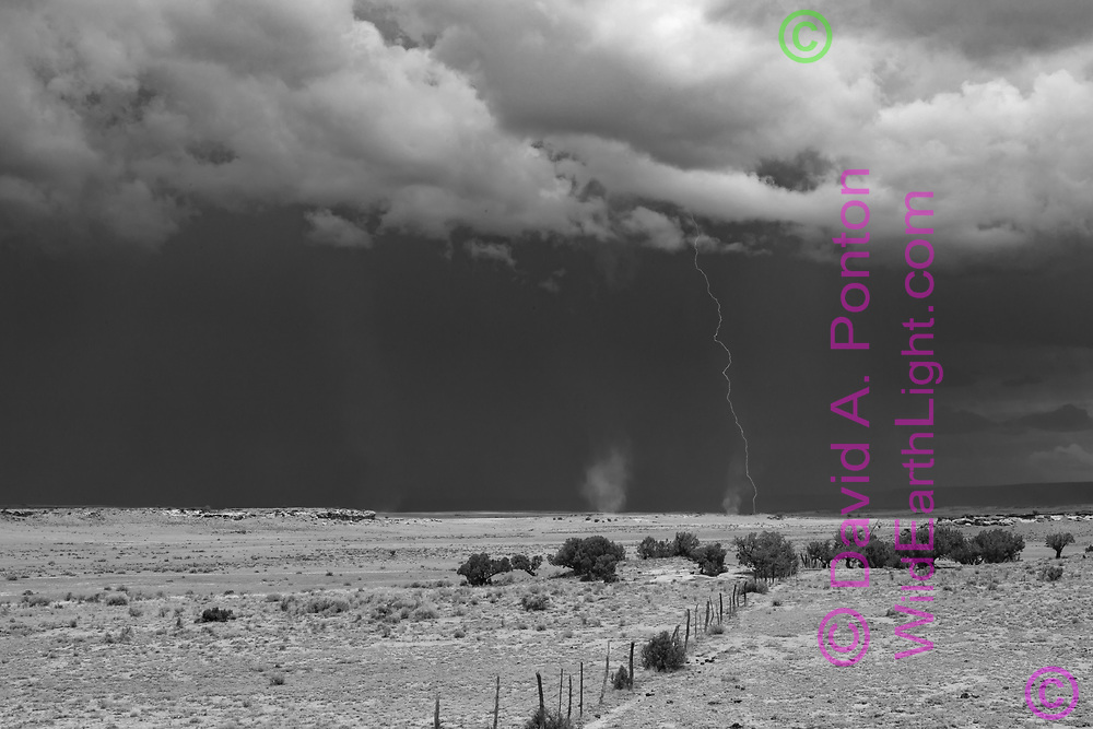 Lightning storm and dust devils, landscape in northwestern New Mexico with rustic fence line, © David A. Ponton