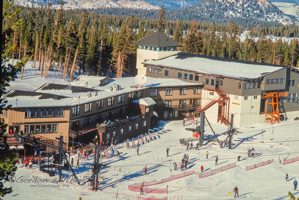 Skiers enjoy the slopes at Mammoth Mountain, in the Sierra Nevada of California
