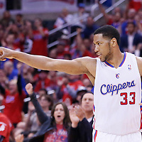 21 April 2014: Los Angeles Clippers forward Danny Granger (33) celebrates during the Los Angeles Clippers 138-98 victory over the Golden State Warriors, during Game Two of the Western Conference Quarterfinals of the NBA Playoffs, at the Staples Center, Los Angeles, California, USA.