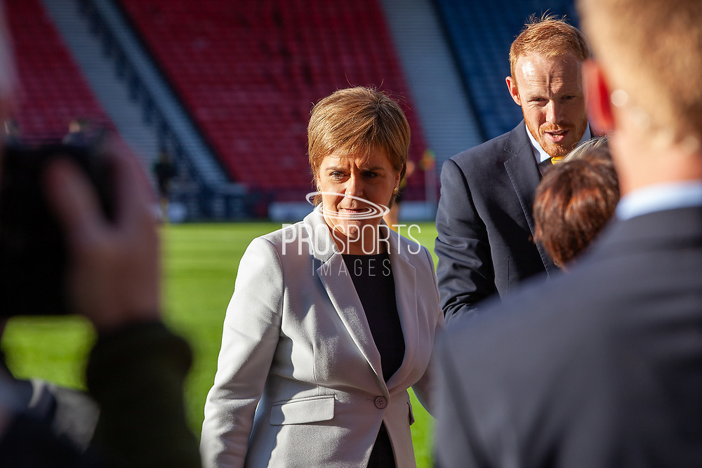 First Minister Nicola Sturgeon to present Historical Scotland Caps ahead of the International Friendly match between Scotland Women and Jamaica Women at Hampden Park, Glasgow, United Kingdom on 28 May 2019.