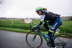 Katrin Garfoot tries to escape at Dwars door de Westhoek 2016. A 127km road race starting and finishing in Boezinge, Belgium on 24th April 2016.