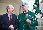 NO FEE PICTURES<br /> 25/1/19 Minister Shane Ross Piper Michael Maher , United Nations Veterans Pipe pictured at the Holiday World Show 2019 at the RDS Simmonscourt in Dublin. Picture; Arthur Carron