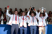 """Henley on Thames, United Kingdom, 8th July 2018, Sunday, View,  """"Fifth day"""", of the annual,  """"Henley Royal Regatta"""", Henley Reach, River Thames, Thames Valley, England, © Peter SPURRIER, Prize Giving, The Prince of Wales Challenge Cup - 2018<br /> Algemene Amsterdamsche Studenten Roeivereniging Skøll Netherlands"""