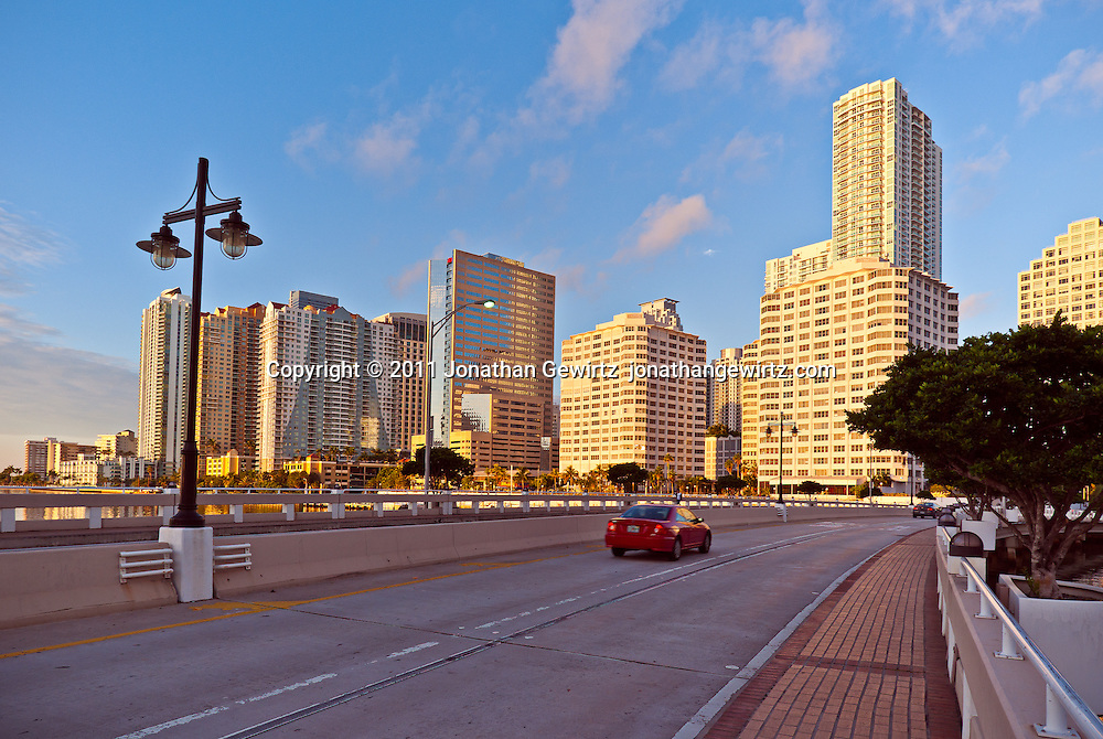 An early-morning view from the Brickell Key causeway of high-rise condo and office buildings along Bayshore Drive and the bayfront south of downtown Miami. WATERMARKS WILL NOT APPEAR ON PRINTS OR LICENSED IMAGES.