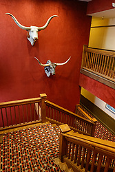 Staircase at Stockyards Hotel, Fort Worth Stockyards National Historic District, Fort Worth, Texas, USA.