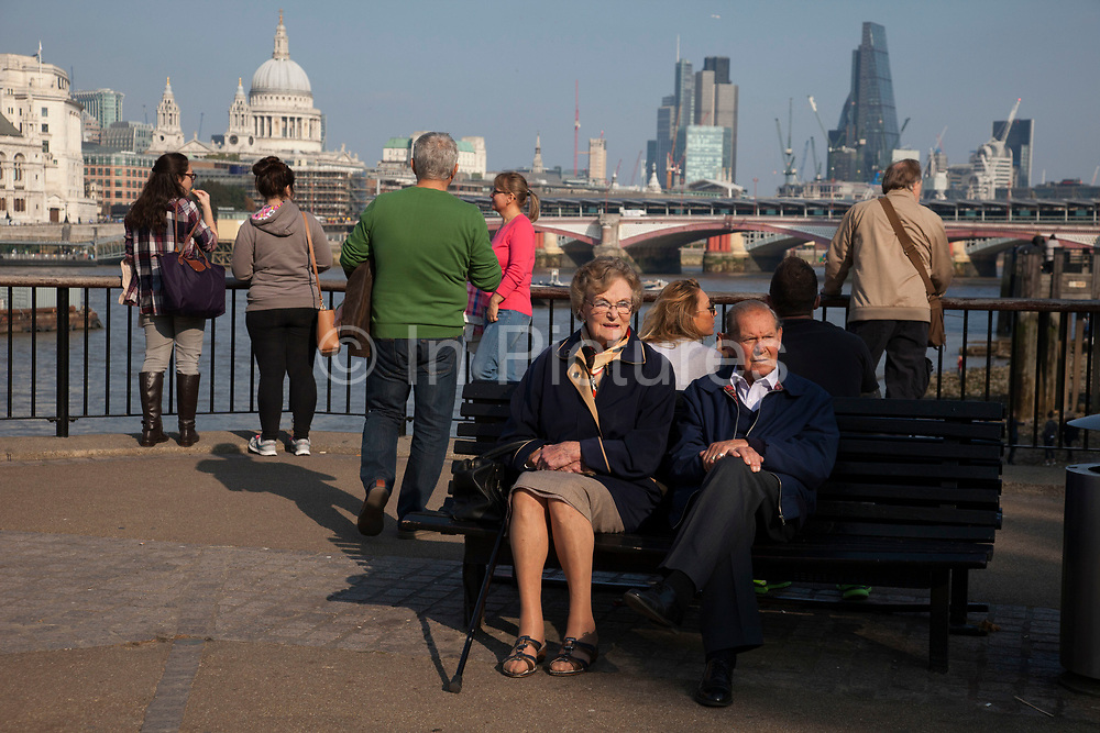 Elderly couple enjoying some Autumn evening sunshine on the Southbank, London, United Kingdom. The South Bank is a significant arts and entertainment district, and home to an endless list of activities for Londoners, visitors and tourists alike. (photo by Mike Kemp/In Pictures via Getty Images)