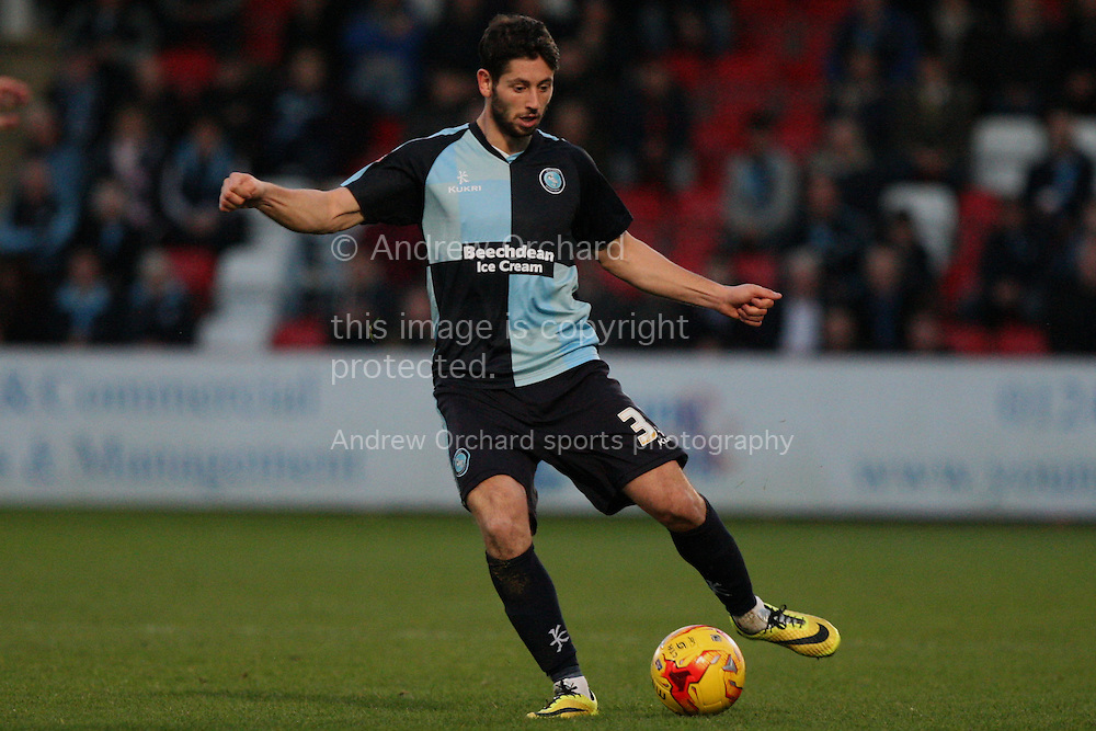 Joe Jacobson of Wycombe in action. Skybet football league two match, Cheltenham Town  v Wycombe Wanderers at The Abbey Business Stadium, Whaddon Road in Cheltenham, Glos on Saturday 22nd November 2014.<br /> pic by Mark Hawkins, Andrew Orchard sports photography.
