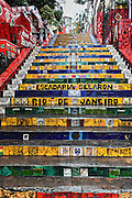 Escadaria Selaron, also known as the Selaron Steps, is a set of world-famous steps in Rio de Janeiro, Brazil. They steps are covered with decretive tile and  the work of Chilean-born artist Jorge Selaron.