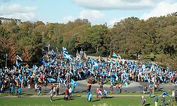 All Under One Banner Independence March, Edinburgh, Saturday 6th October 2018<br /> <br /> Pictured: Marchers at Scottish Parliament<br /> <br /> (c) Aimee Todd | Edinburgh Elite media