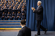 Vice President Mike Pence greets the crowd before addressing the South Carolina Corps of Cadets at The Citadel in Charleston, South Carolina on Friday, February 13, 2020.<br /> <br /> Credit: Cameron Pollack / The Citadel