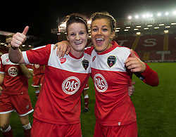 Bristol Academy Womens' Jasmine Matthews and Bristol Academy Womens' Jemma Rose celebrate their win at the end of the game - Photo mandatory by-line: Dougie Allward/JMP - Mobile: 07966 386802 - 13/11/2014 - SPORT - Football - Bristol - Ashton Gate - Bristol Academy Womens FC v FC Barcelona - Women's Champions League