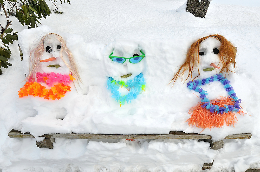 Childs Artwork, Plastic Sculptures. Funny People made from carrot sticks, coal, lays, sunglasses and built into a Snow Covered Park Bench. Hamden CT Condo Courtyard.
