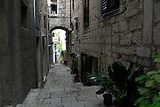 Paved street of Korcula old town. Korcula old town, island of Korcula, Croatia