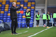 AFC Wimbledon manager Glyn Hodges stood on touch line and pointing during the EFL Sky Bet League 1 match between AFC Wimbledon and Milton Keynes Dons at Plough Lane, London, United Kingdom on 30 January 2021.