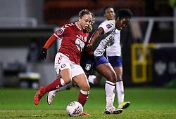 Ebony Salmon of Bristol City Women is challenged by Anita Asante of Aston Villa Women - Mandatory by-line: Ryan Hiscott/JMP - 13/01/2021 - FOOTBALL - Twerton Park - Bath, England - Bristol City Women v Aston Villa Women - FA Continental Cup quarter final