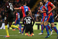 Sergio Aguero of Manchester City on his knees after missing another chance to score. Premier League match, Crystal Palace v Manchester city at Selhurst Park in London on Saturday 19th November 2016. pic by John Patrick Fletcher, Andrew Orchard sports photography.