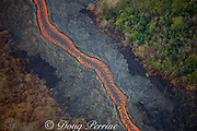 an incandescent river of lava erupted from fissures in the east rift zone of Kilauea Volcano, near Pahoa, flows through lower Puna District, Hawaii ( the Big Island ), Hawaiian Islands, U.S.A. ( Central Pacific Ocean ); vegetation on the downwind side of the lava river (lower left) has been killed by toxic fumes emitted by the lava