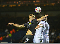 Blackburn Rovers' Sam Gallagher battles in the air with Leeds United's Liam Cooper<br /> <br /> Photographer Alex Dodd/CameraSport<br /> <br /> The EFL Cup Third Round - Leeds United v Blackburn Rovers - Tuesday 20 September 2016 - Elland Road - Leeds<br />  <br /> World Copyright © 2016 CameraSport. All rights reserved. 43 Linden Ave. Countesthorpe. Leicester. England. LE8 5PG - Tel: +44 (0) 116 277 4147 - admin@camerasport.com - www.camerasport.com
