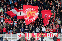 Middlesbrough fans waving flags in the stands