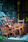 Tables and Chairs being stored at the Awahnee Hotel in Yosemite